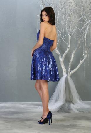 Rochie France Mode M1691 albastra scurta de ocazie baby doll1