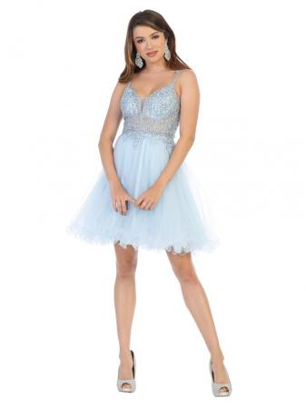 Rochie France Mode M1693 bleu scurta de ocazie baby doll0