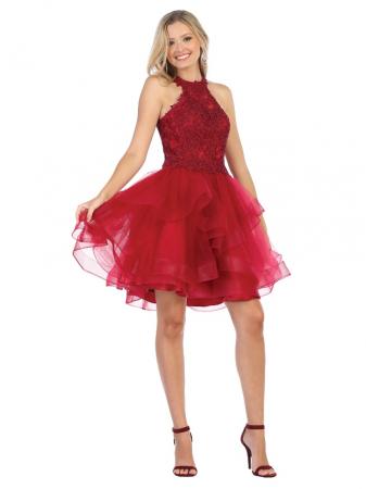 Rochie France Mode M1700 rosie scurta de ocazie baby doll0