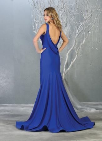 Rochie France Mode M1719 albastra lunga de seara sirena1