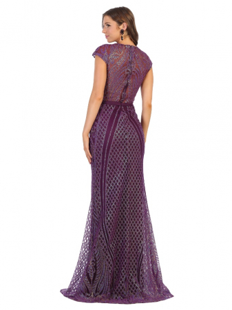 Rochie France Mode M1722 violet lunga de seara mulata1