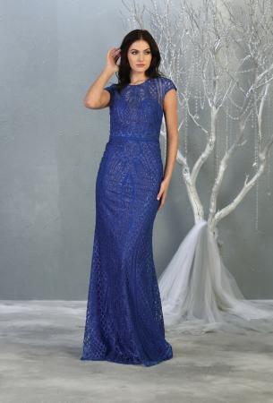 Rochie France Mode M1722 albastra lunga de seara mulata1