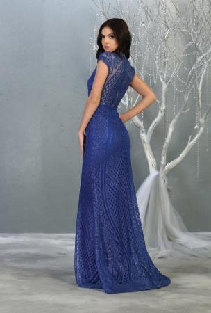 Rochie France Mode M1722 albastra lunga de seara mulata2