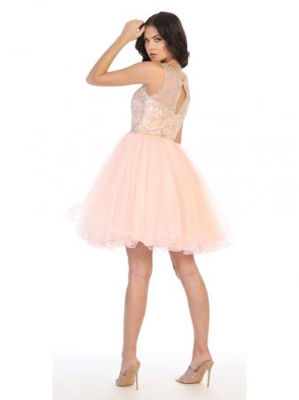 Rochie France Mode M1726 roz scurta de ocazie baby doll1