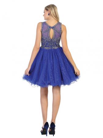 Rochie France Mode M1726 albastra scurta de ocazie baby doll [1]