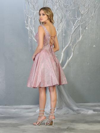 Rochie France Mode M1774 roz scurta de ocazie baby doll2