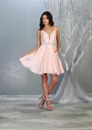 Rochie France Mode M1775 roz scurta de ocazie baby doll0