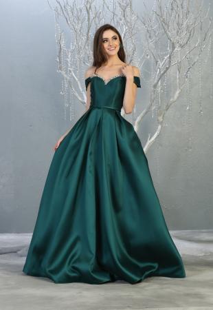 Rochie France Mode M1784 verde lunga de seara princess0