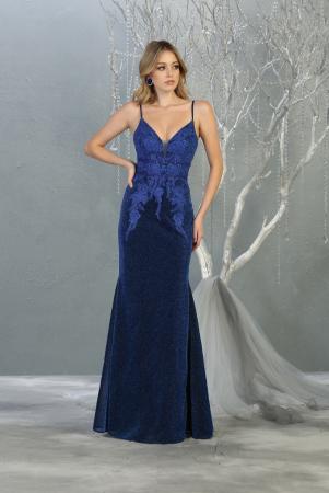 Rochie France Mode M1796 albastra lunga de seara sirena [1]