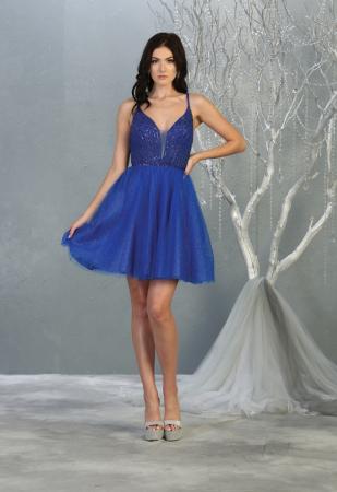 Rochie France Mode M1800 albastra scurta de ocazie baby doll [0]