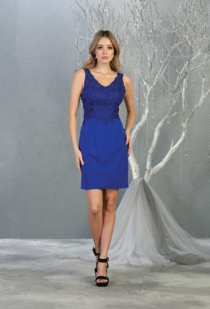 Rochie France Mode M1808 albastra scurta de ocazie mulata [0]