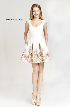 Rochie Betty M After alba cu flori scurta de vara baby doll0