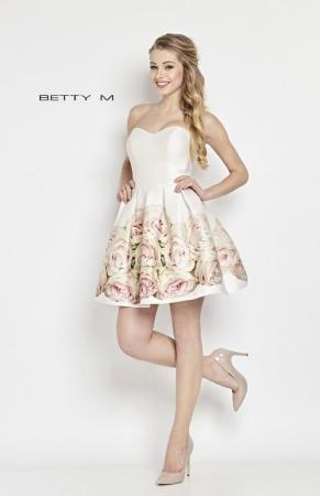 Rochie Betty M Amaretto alba cu flori scurta de vara baby doll2