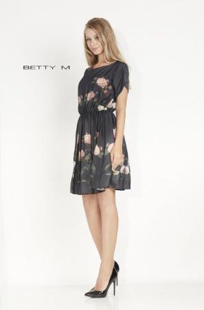 Rochie Betty M Avenue neagra cu flori scurta de vara in clos1