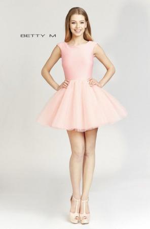 Rochie Betty M Ballerina roz pudrat scurta de cocktail baby doll0