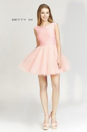 Rochie Betty M Ballerina roz pudrat scurta de cocktail baby doll1