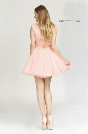 Rochie Betty M Ballerina roz pudrat scurta de cocktail baby doll4
