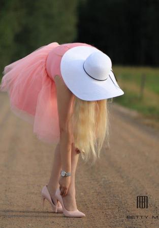 Rochie Betty M Ballerina roz pudrat scurta de cocktail baby doll7
