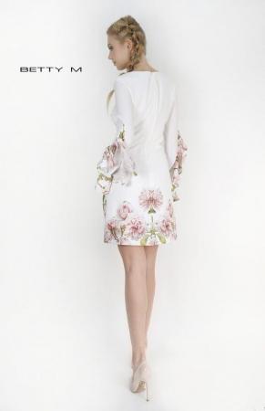 Rochie Betty M Become alba cu flori scurta de vara fluida4