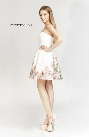 Rochie Betty M Day alba cu flori scurta de vara baby doll [4]