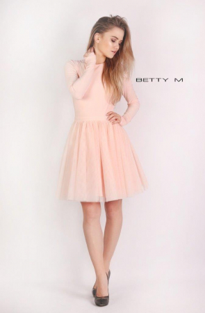 Rochie Betty M Dusty Rose roz scurta de cocktail baby doll0
