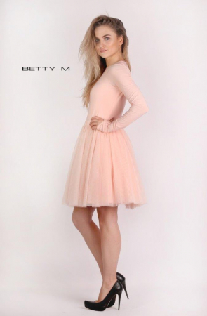 Rochie Betty M Dusty Rose roz scurta de cocktail baby doll1