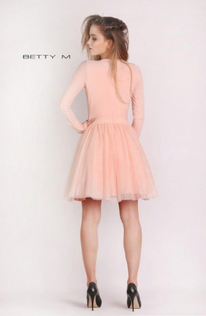 Rochie Betty M Dusty Rose roz scurta de cocktail baby doll2