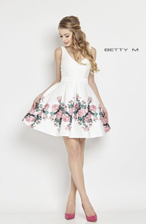 Rochie Betty M Happy Roses alba cu flori scurta de vara baby doll0