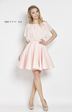 Rochie Betty M Flamingo roz scurta de cocktail baby doll0