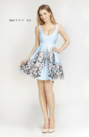 Rochie Betty M Happy Autumn bleu cu flori scurta de vara baby doll0