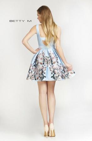 Rochie Betty M Happy Autumn bleu cu flori scurta de vara baby doll2