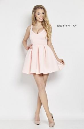 Rochie Betty M Happy roz scurta de cocktail baby doll0
