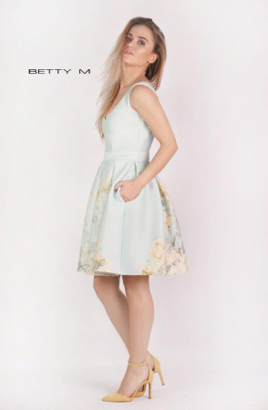 Rochie Betty M Happy Sky bleu cu flori galbene scurta de vara baby doll1
