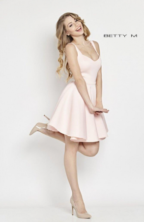 Rochie Betty M Hugs roz scurta de cocktail baby doll2