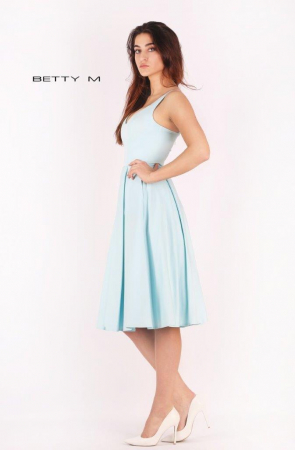 Rochie Betty M Ivent bleu midi de cocktail baby doll3