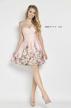 Rochie Betty M Kiss roz cu flori scurta de vara baby doll0