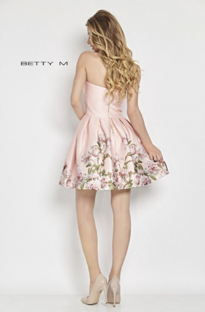 Rochie Betty M Kiss roz cu flori scurta de vara baby doll2