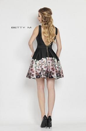 Rochie Betty M Mallow neagra cu flori scurta de vara baby doll2