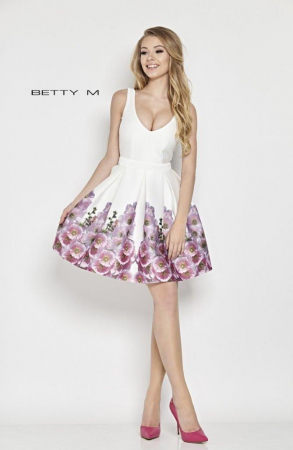Rochie Betty M Mallow alba cu flori scurta de vara baby doll0