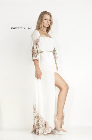 Rochie Betty M Mistery Long alba cu flori lunga de seara larga1