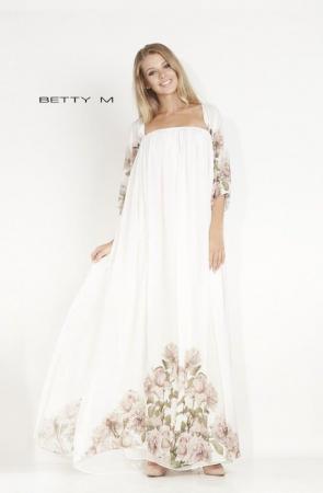 Rochie Betty M Mistery Long alba cu flori lunga de seara larga2