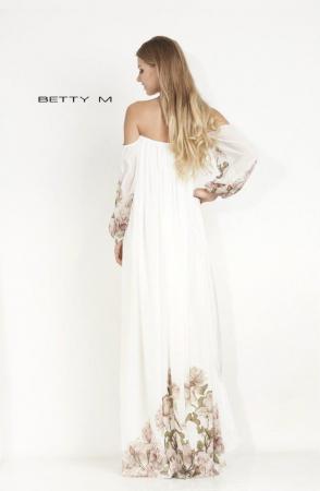 Rochie Betty M Mistery Long alba cu flori lunga de seara larga3