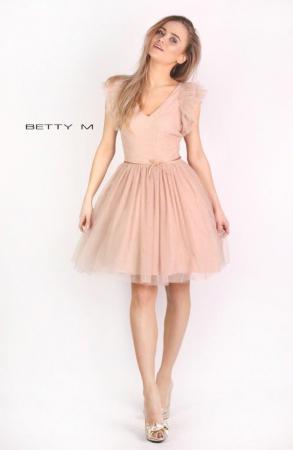 Rochie Betty M Misty bej scurta de cocktail baby doll0