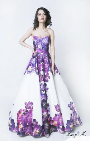Rochie Betty M Pansy alba cu flori lunga de seara tip princess0