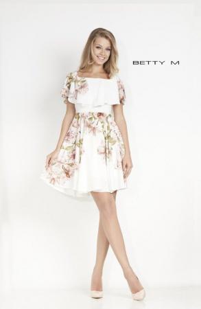 Rochie Betty M Passionate alba cu flori scurta de vara in clos0