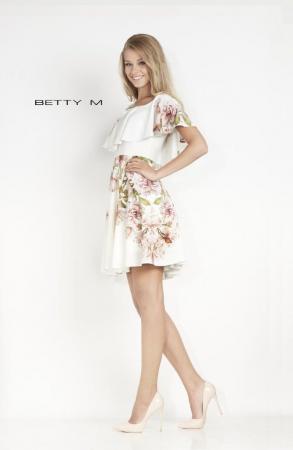 Rochie Betty M Passionate alba cu flori scurta de vara in clos1