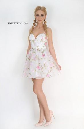 Rochie Betty M Primavera alba cu flori scurta de vara baby doll1