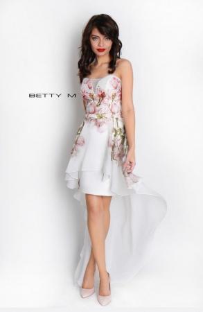 Rochie Betty M Queen Rosa alba cu flori scurta in fata de vara in clos2