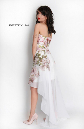Rochie Betty M Queen Rosa alba cu flori scurta in fata de vara in clos6