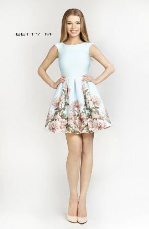 Rochie Betty M Southern Sky bleu cu flori scurta de vara baby doll0